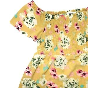 Monteau Yellow Floral Flutter Sleeve Smocked Top